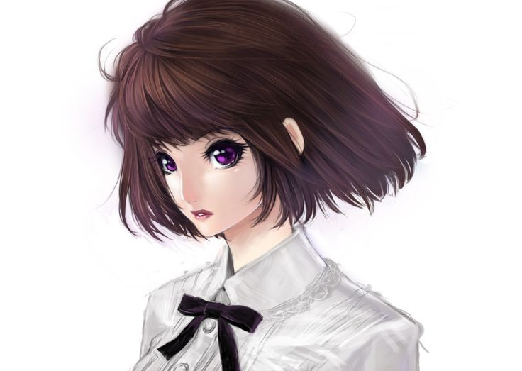 anime art pretty girl. . .purple
