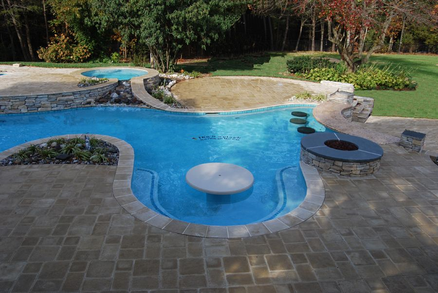 Ordinaire Swim Up Pool Table | ... In The Backyard Swimming Pool Melbourne Pool  Wooden Table Set