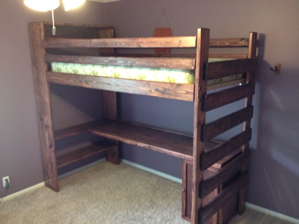 Metal loft bed with desk underneath  Custom Twin Loft Bed  Tax Built in shelving top and bottom
