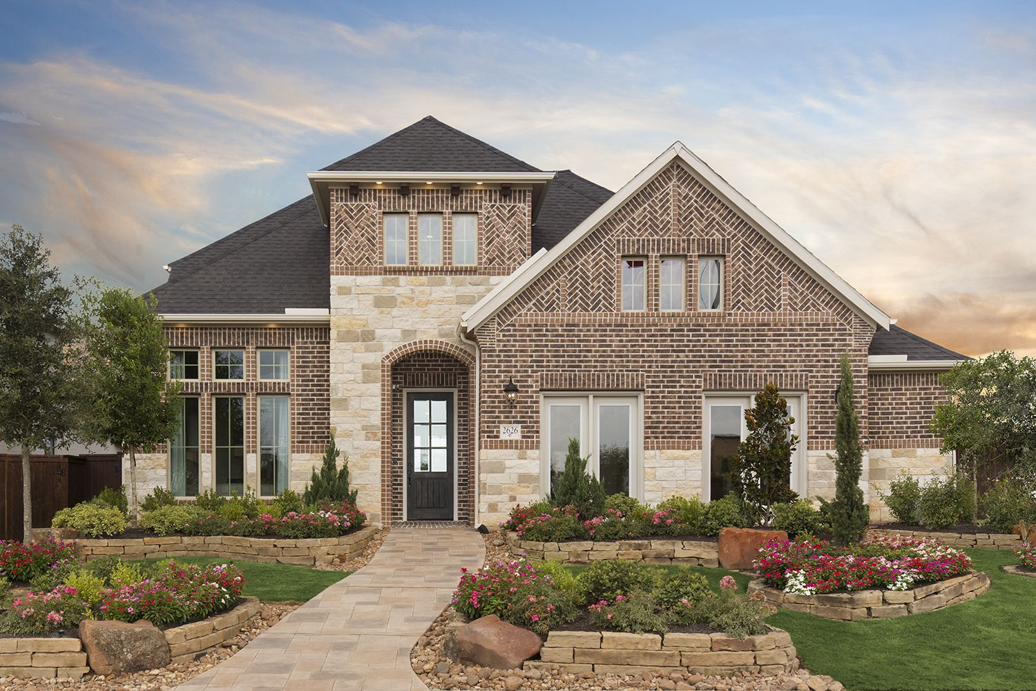 Brick And Stone Exterior Elevation Coventry Homes In Cane Island 55 Design 5402 New Home Builders Coventry Homes Home Builders