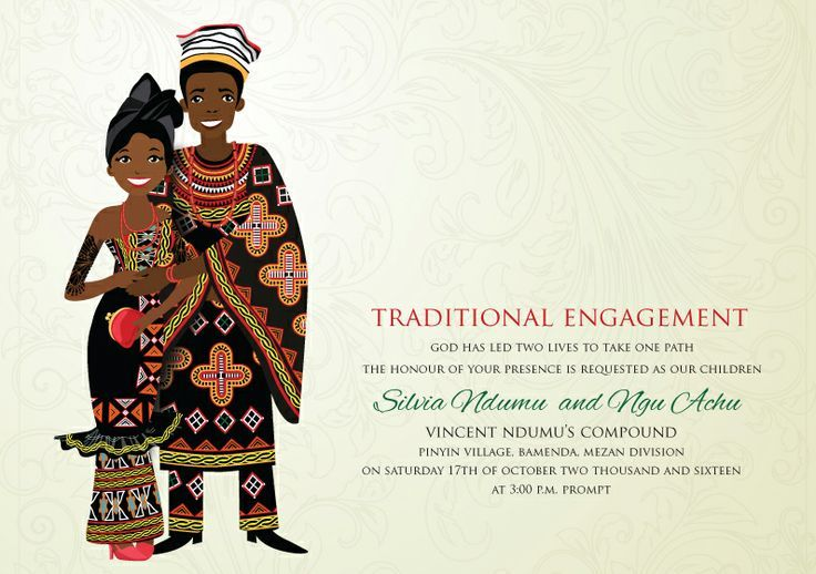 Traditional cameroonian engagement bamenda traditional cameroonian 8 beautiful african wedding invitations by bibi invitations featuring drawings representing countries such as nigeria south africa ghana and more stopboris Image collections
