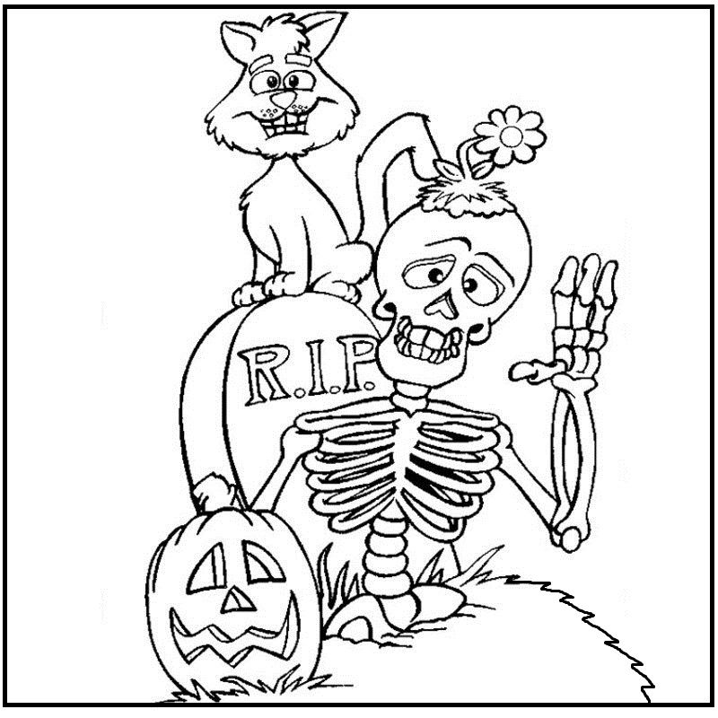 The Skull Saying Happy Halloween coloring picture for kids ...