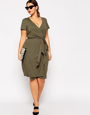 Plus Size ASOS CURVE Wrap Dress With Bow Front In Longer Length