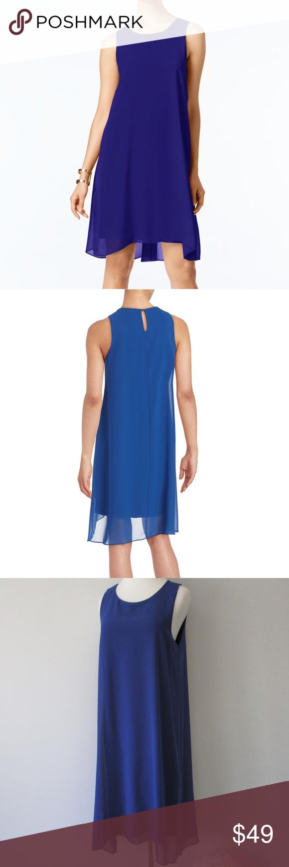 Nwt Vince Camuto Blue Chiffon Hi Low Shift Dress Midi Shift Dress Dresses Cocktail Evening Dresses [ 1740 x 580 Pixel ]