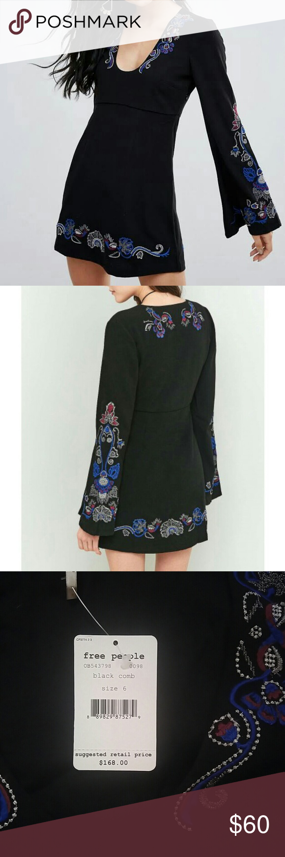 a46bec2ab437 Free People dress Free people Holiday Folk mini dress. Fully lined. Low  scoop neck. Floral embroidered details. Flared sleeves. Side-zip fastening.