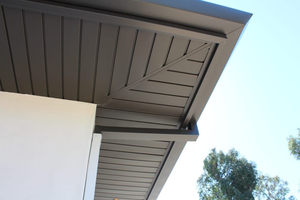 Photo Of A Plus Gutter Systems Los Angeles Ca United States Interlocking Aluminum Soffit Pan Exterior House Renovation House Exterior False Ceiling Design
