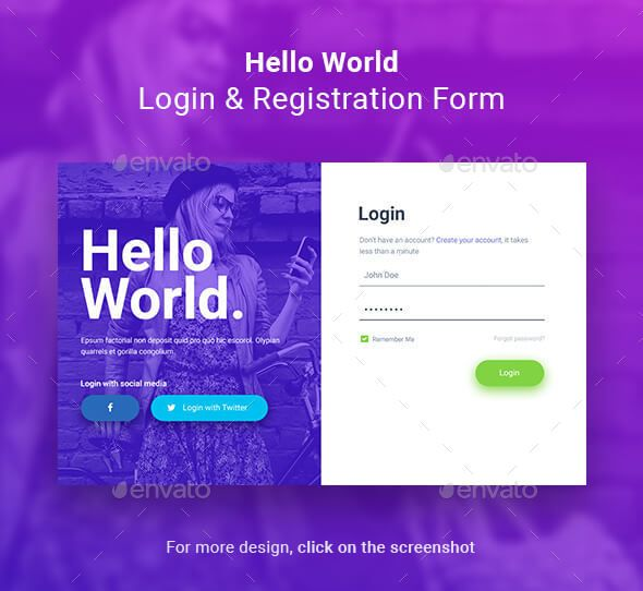 Hello World Login \ Registration Form Registration form - Account Form Template