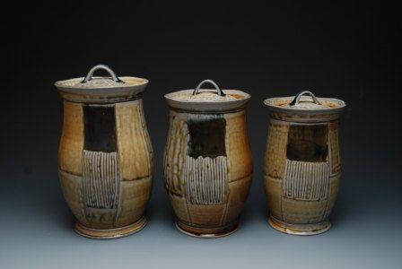 Tall Lidded Jars By Larryphanceramics Use This Decorating Idea Clay Ceramics Ceramic Boxes Jar Lids