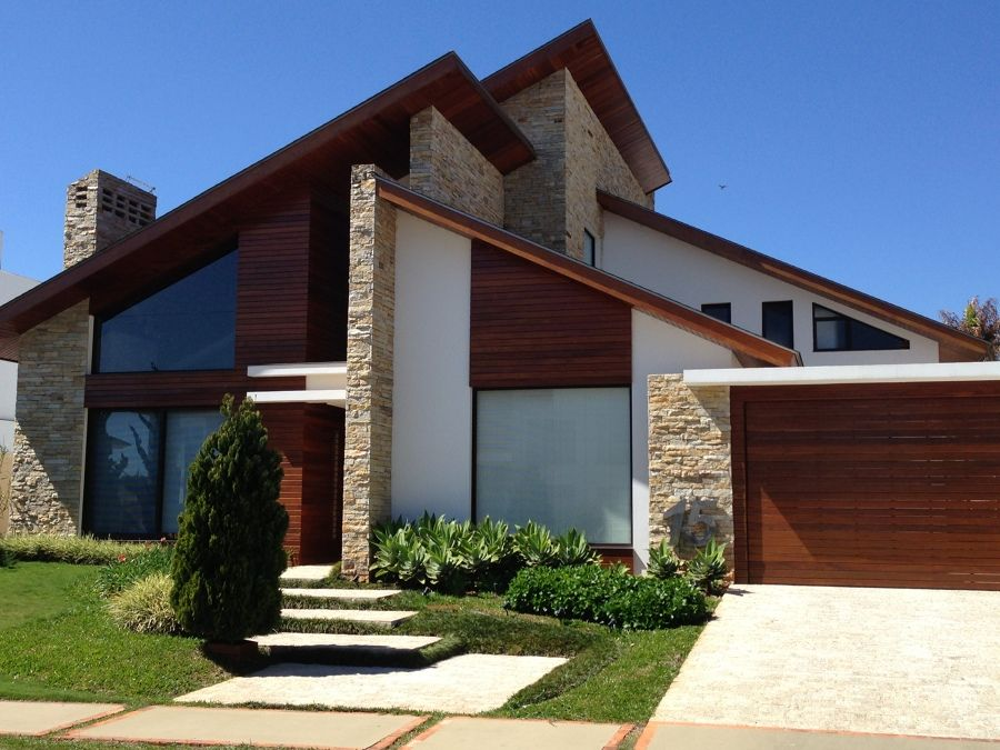 fachada revestida com pedra trabajos Pinterest Fachadas Casas