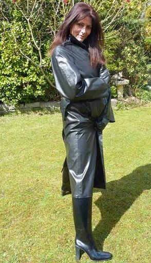 Black Rubber Coat And Rubber Boots  Rubber Dress, Rain -3216