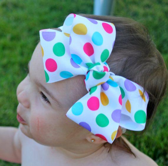 Rainbow Bow Polka Dot Hair Bow Baby Polka Dot Headband Ribbon Hair Bow