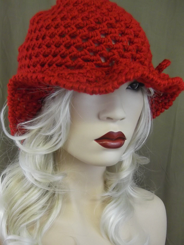 Cherry red crochet hat bucket hat one size cloche women