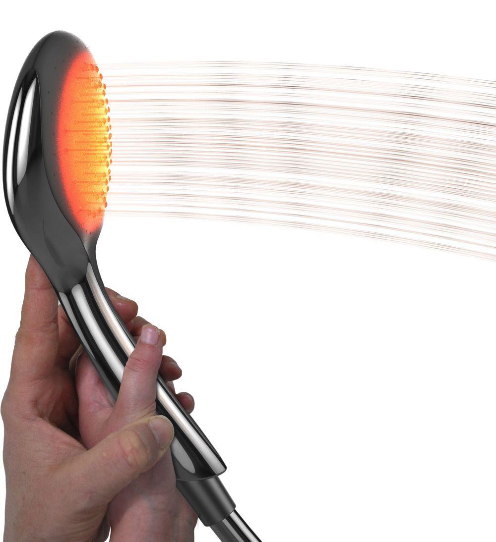 Hydrao est une pomme de douche connectée et lumineuse. Le dispositif couplé à un app permet d'effectuer des économies sur sa facture d'eau de l'ordre de 25%