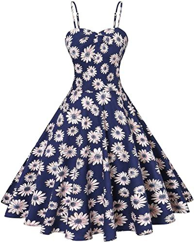 New VOGTORY Womens Plus Size Floral Strappy Swing Dress Beach Slip Dress Short Braces Skirt online