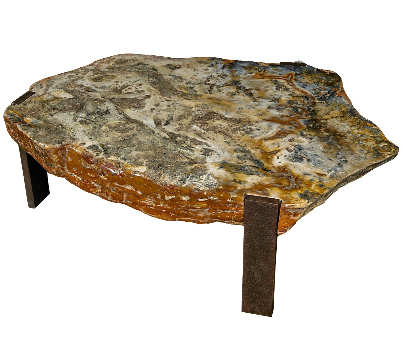 Rustic Stone Top Coffee Table