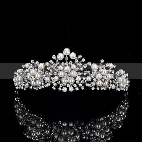 Hvit alloy diademer med perle-detaljering hg140037