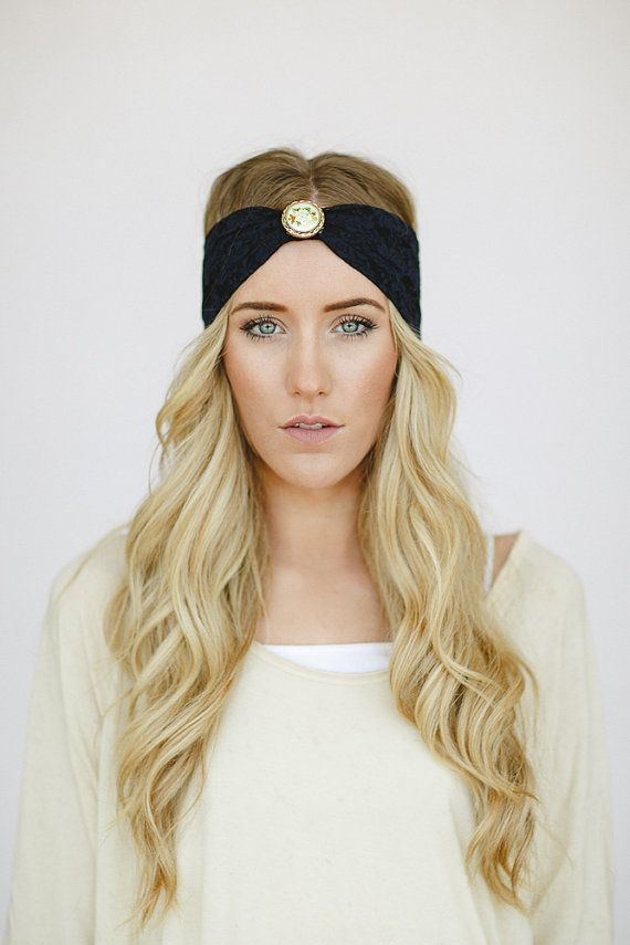 Bohemian NAVY Lace Turban Headband with Vintage Brooch Women s Boho Head  Wrap with Floral Gold Button 3cb44ae876e