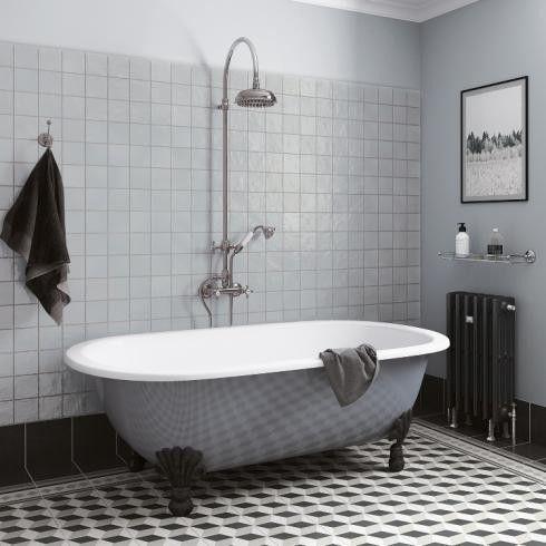 bathroom with light blue zellige tiles 3d pattern floor