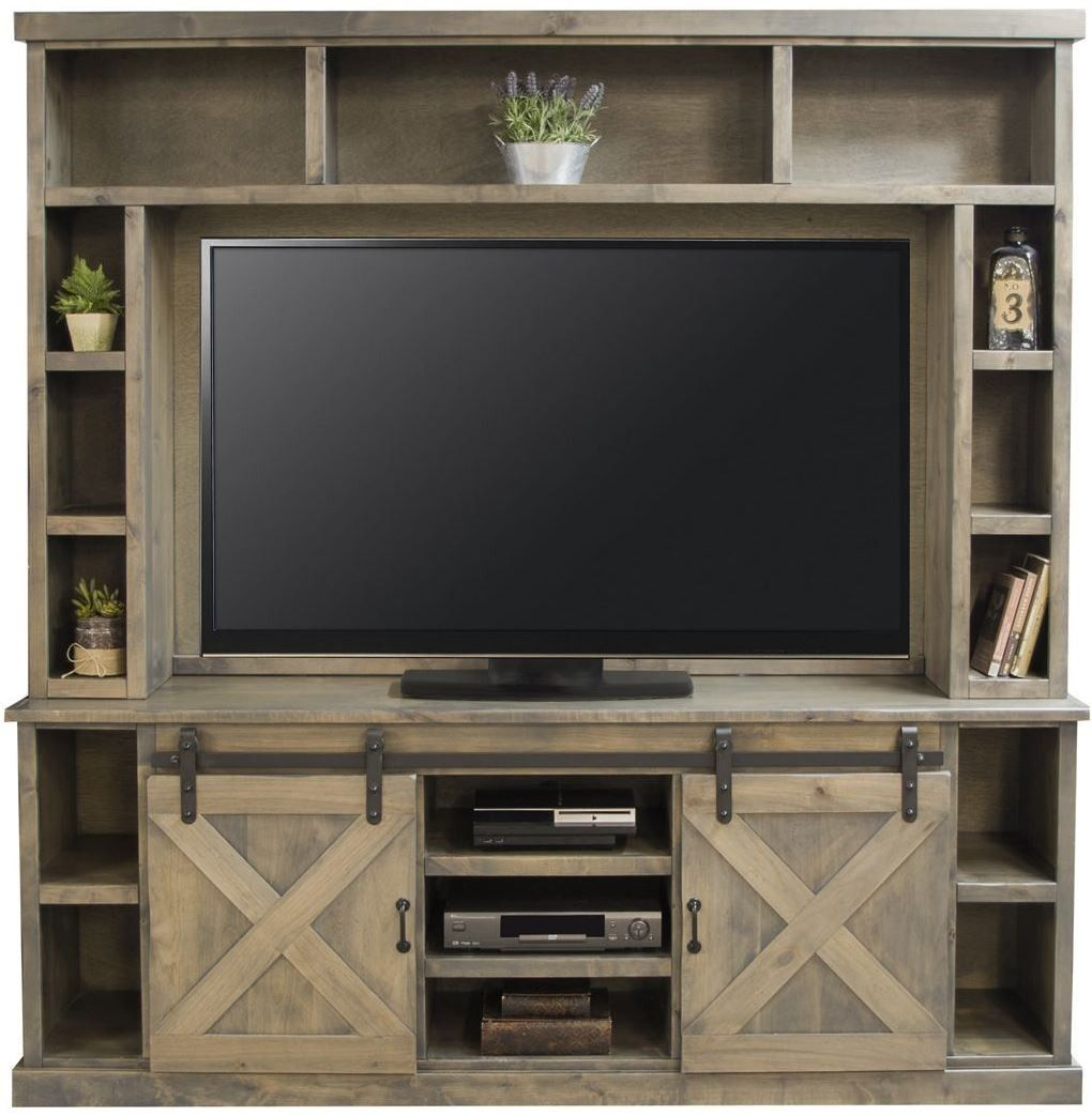 Farmhouse Brushed Nickel Entertainment Center Home