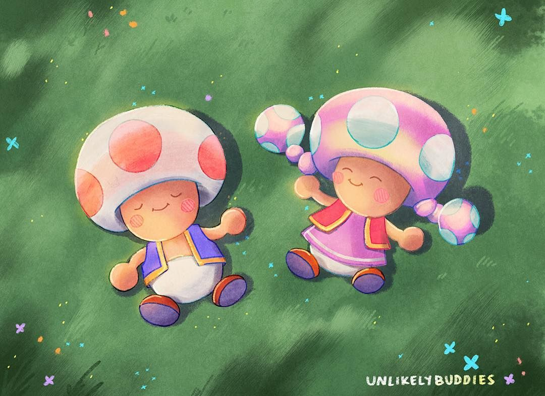 Just Toad And Toadette Chilling On Some Soft Grass It S Saturday What Are Your Plans Have A Good Weekend Super Mario Super Mario Bros Fan Art