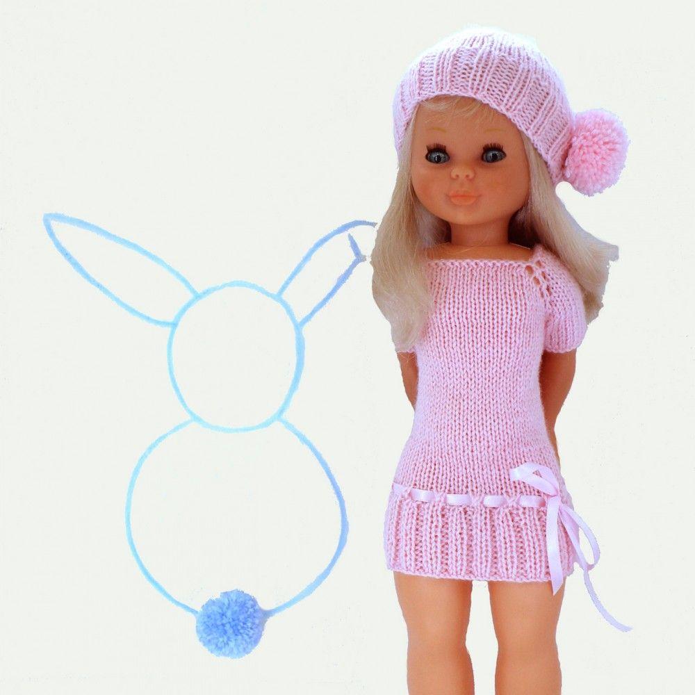 Patrón para muñeca Nancy un vestido y un gorro para realizar en ...