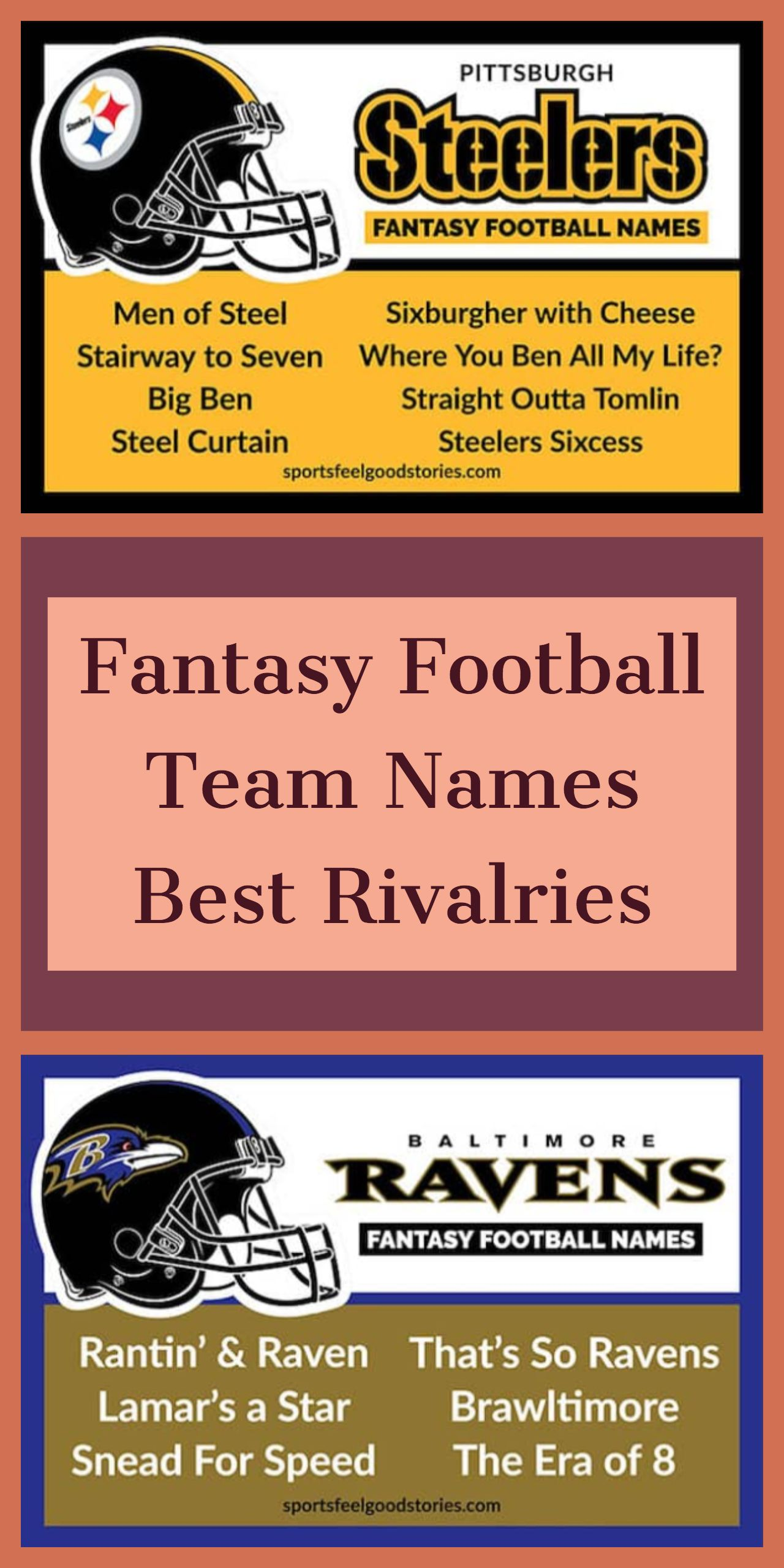 Fantasy Football Team Names For Pittsburgh Steelers Baltimore Ravens And All 32 Nfl Teams Football Team Names Team Names Fantasy Football