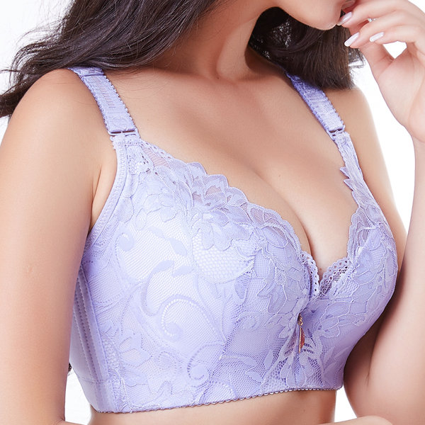 28b9a354ecdd0 Sexy Zip Front Cotton Lining Gather Wireless Soft Lace Comfort Embroidery  Bra - NewChic Mobile