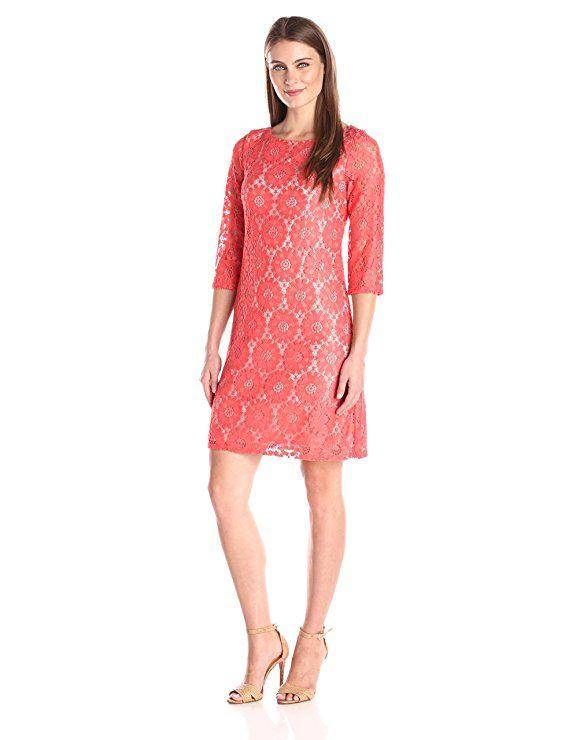 Amazon Com Jessica Howard Women S All Over Lace Shift Dress