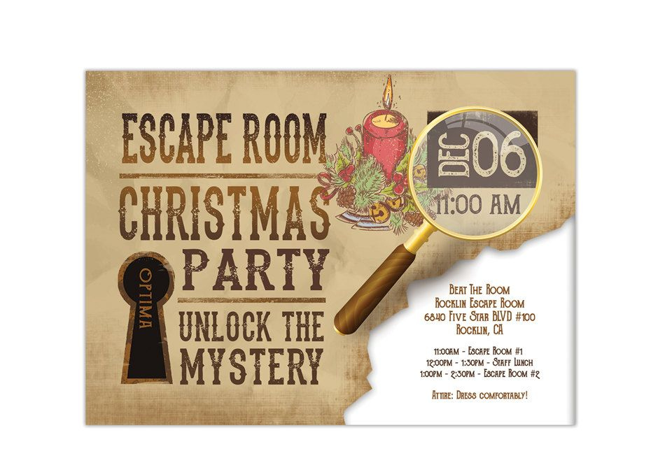 Pin by Sherri Olson on Invitations | Escape room, Party ...