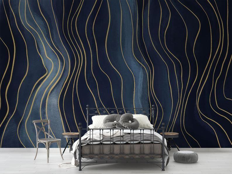 Navy Blue Golden Yellow Chalk Line Drawing Wallpaper Peel Etsy