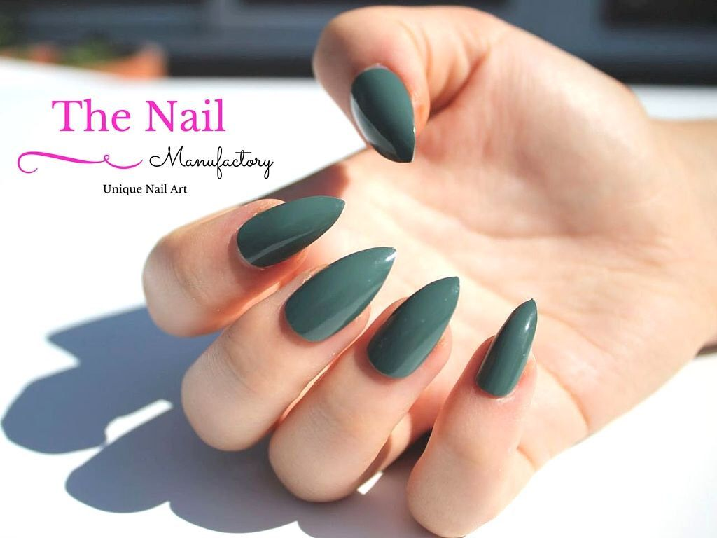 Khaki Fake Nails - Glossy Green False Nail Set - available as ...