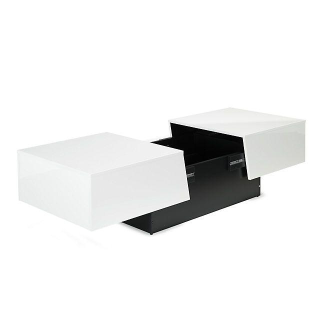 Table Basse Rangement Bar.Pero Table Basse Blanche Avec Rangement De Bar Integre