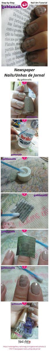 Photo of Newspaper Nails/Unhas de Jornal by gabisnails  Nail Art Gallery Step-by-Step Tu