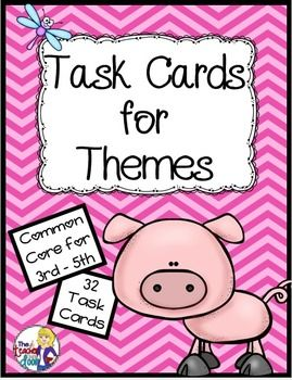 "These 32 Common Core Task Cards by The Teacher Next Door will help your students practice the important reading strategy of finding the theme using literature. Each ""Theme"" task card has a short original story and asks students to identify the theme that is shown."