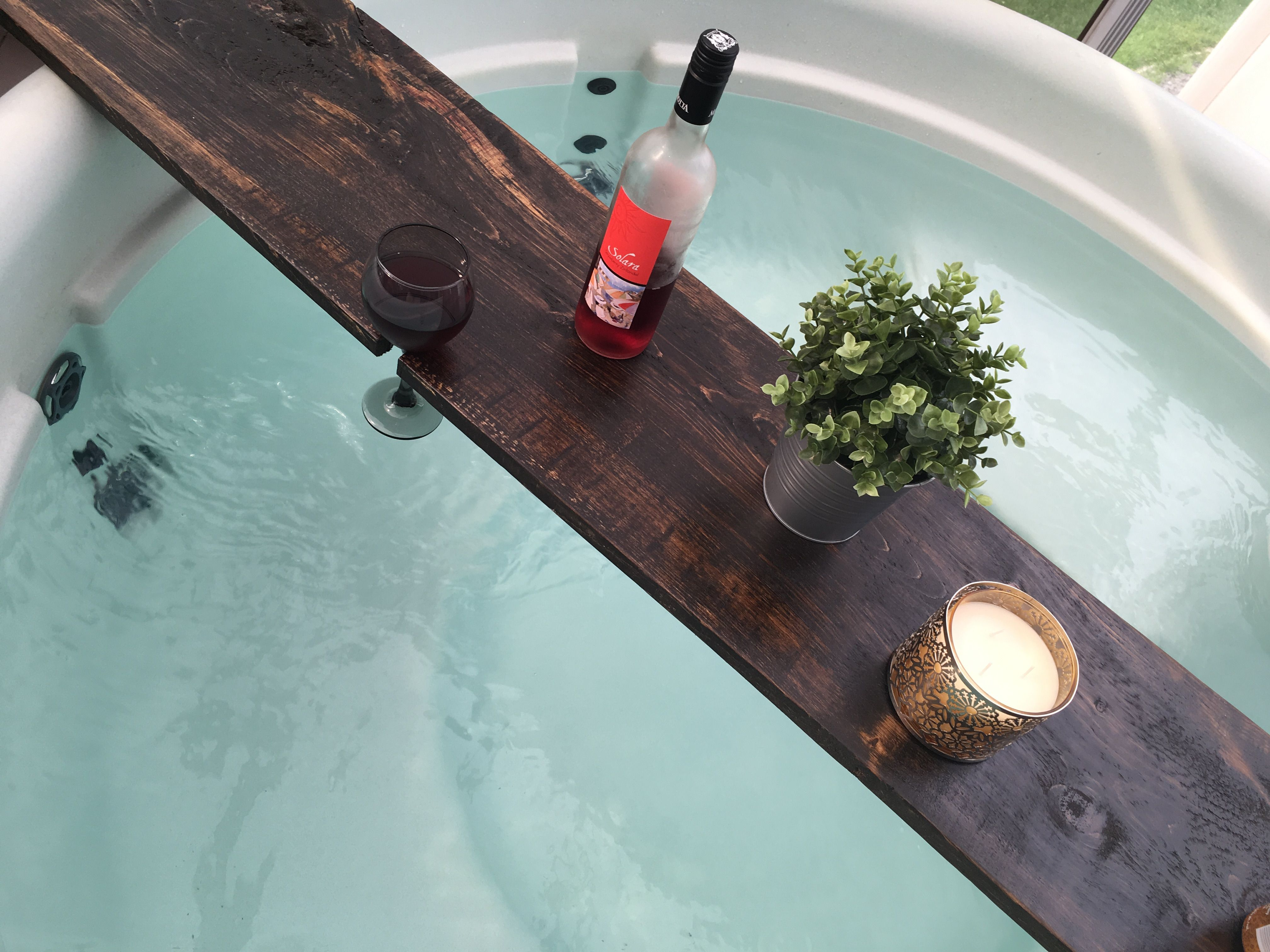 Rustic Wooden hot tub drink Caddy! Dark Walnut stain with wine glass ...
