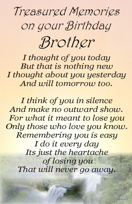 Details about Bereavement Grave Card BROTHER Birthday my