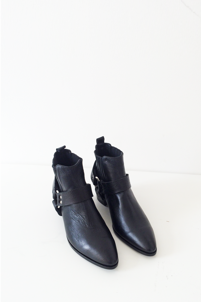 Leather Harness Boot - Black
