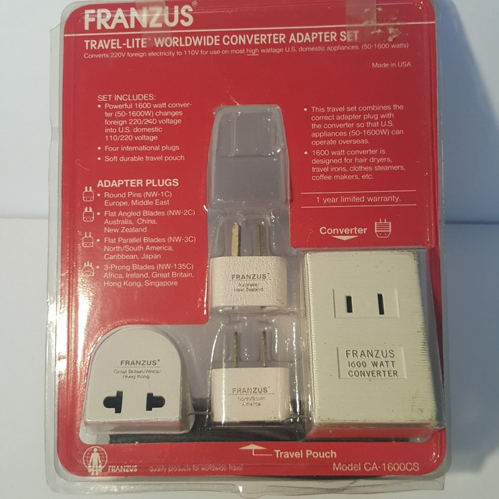 Franzus Travel Lite Worldwide Converter Adapter Set Ca 1600cs No Round Pin Plug International Power Adapter International Plug Adapter International Adapter