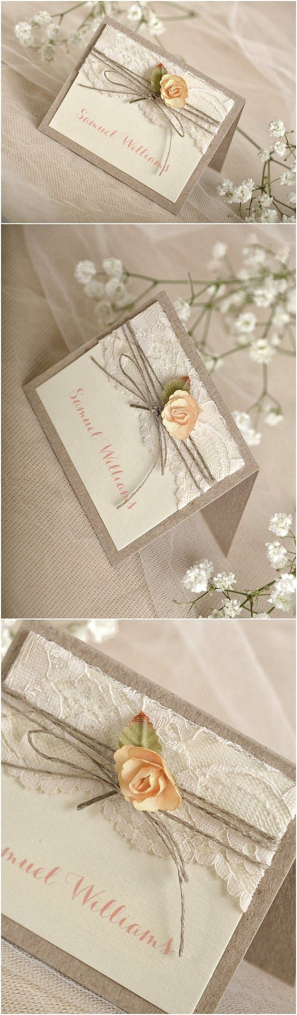 Rustic lace wedding place cards @4LOVEPolkaDots                                                                                                                                                                                 More