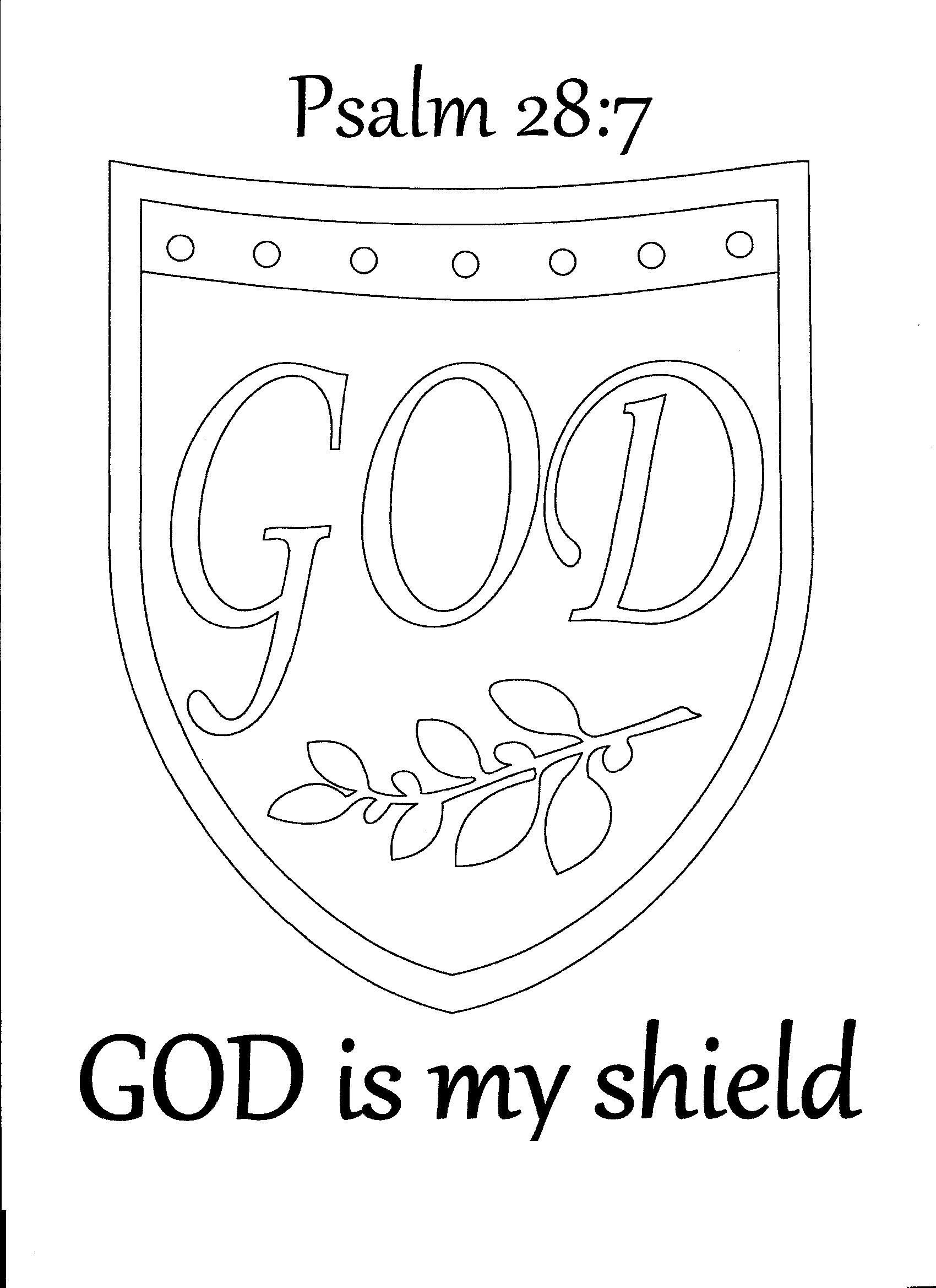God Is My Shield Psalm 28 7 Coloring Page Toddler Sunday School