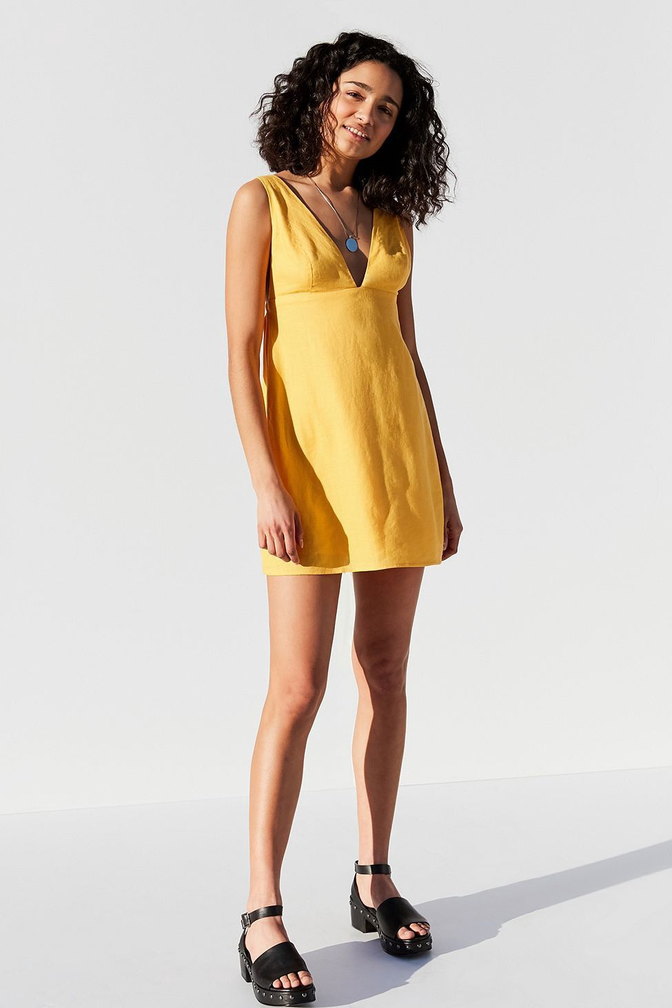 473a438bf89b Urban Outfitters Uo Breezy Plunging Linen Mini Dress - Yellow Multi L Green