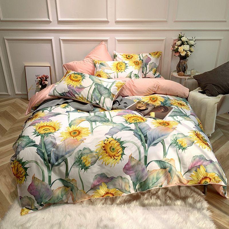 Luxury Egyptian Cotton Sunflower Bedlinen Bedding Set Duvet Cover Bed Sheet Fitted Sheet Pillow Qu Egyptian Cotton Duvet Cover Duvet Cover Sets Bed Sheet Sets