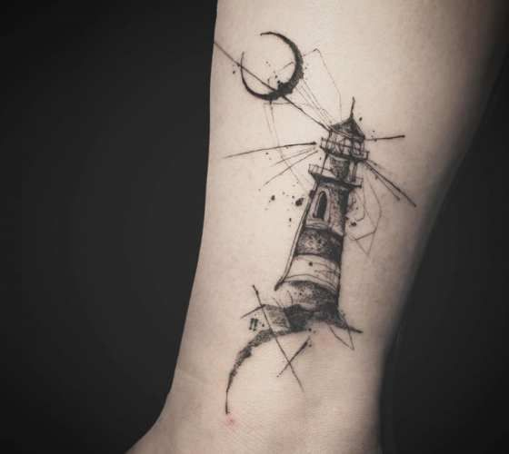 Incredible black and grey tattrx tattoo style of Lighthouse motive done by Tattooer Nadi