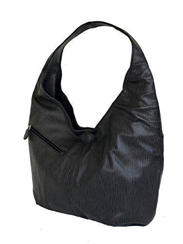 Fgalaze Black Textured Leather Hobo Bag with Pockets a7dfad5cc3158