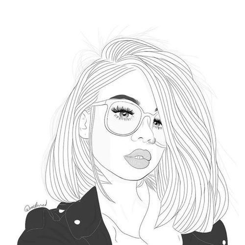 Outline Girl Drawings Tumblr Glasses   draw, drawing ...