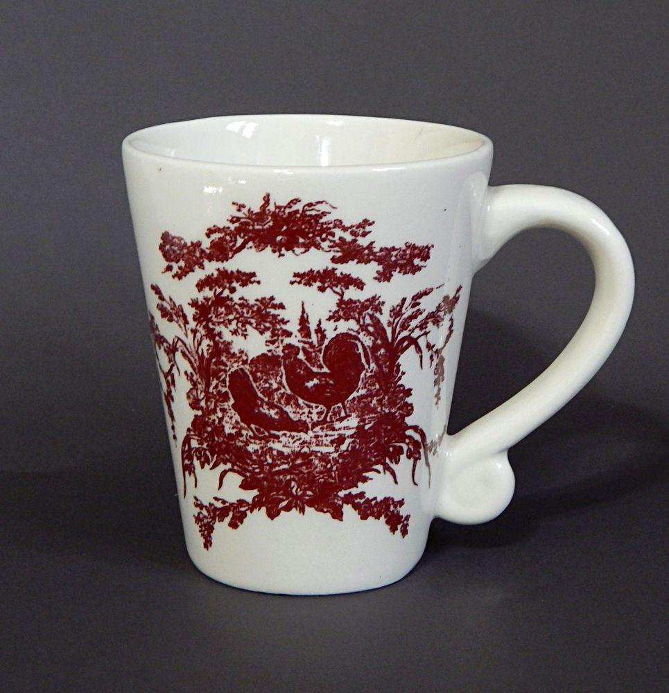 California Pantry Classic Ceramics Coffee Mug French Toile Rooster Design Latte Mugs Mugs Coffee Latte