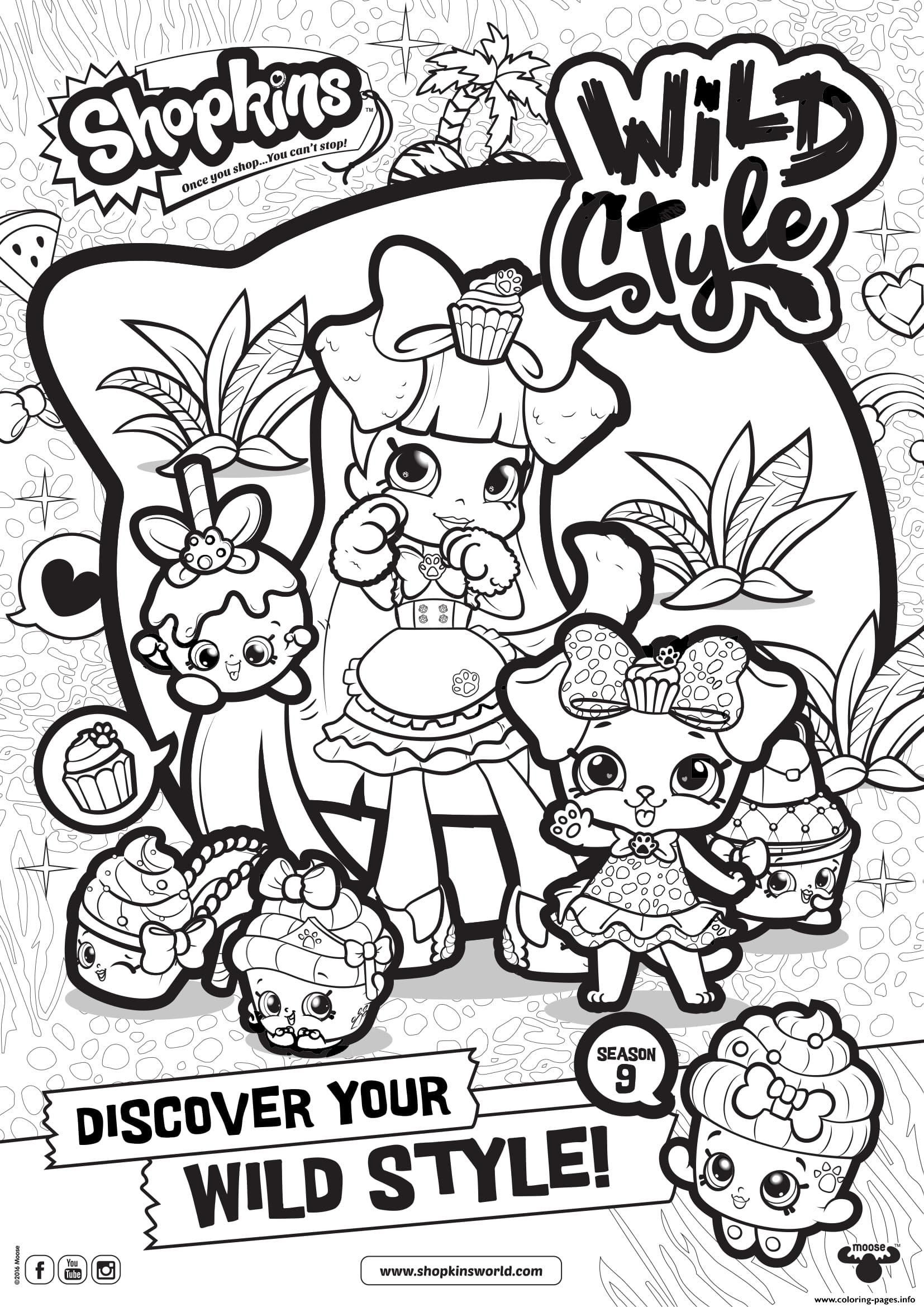 Print Shopkins Season 9 Wild Style 8 Coloring Pages Shopkins
