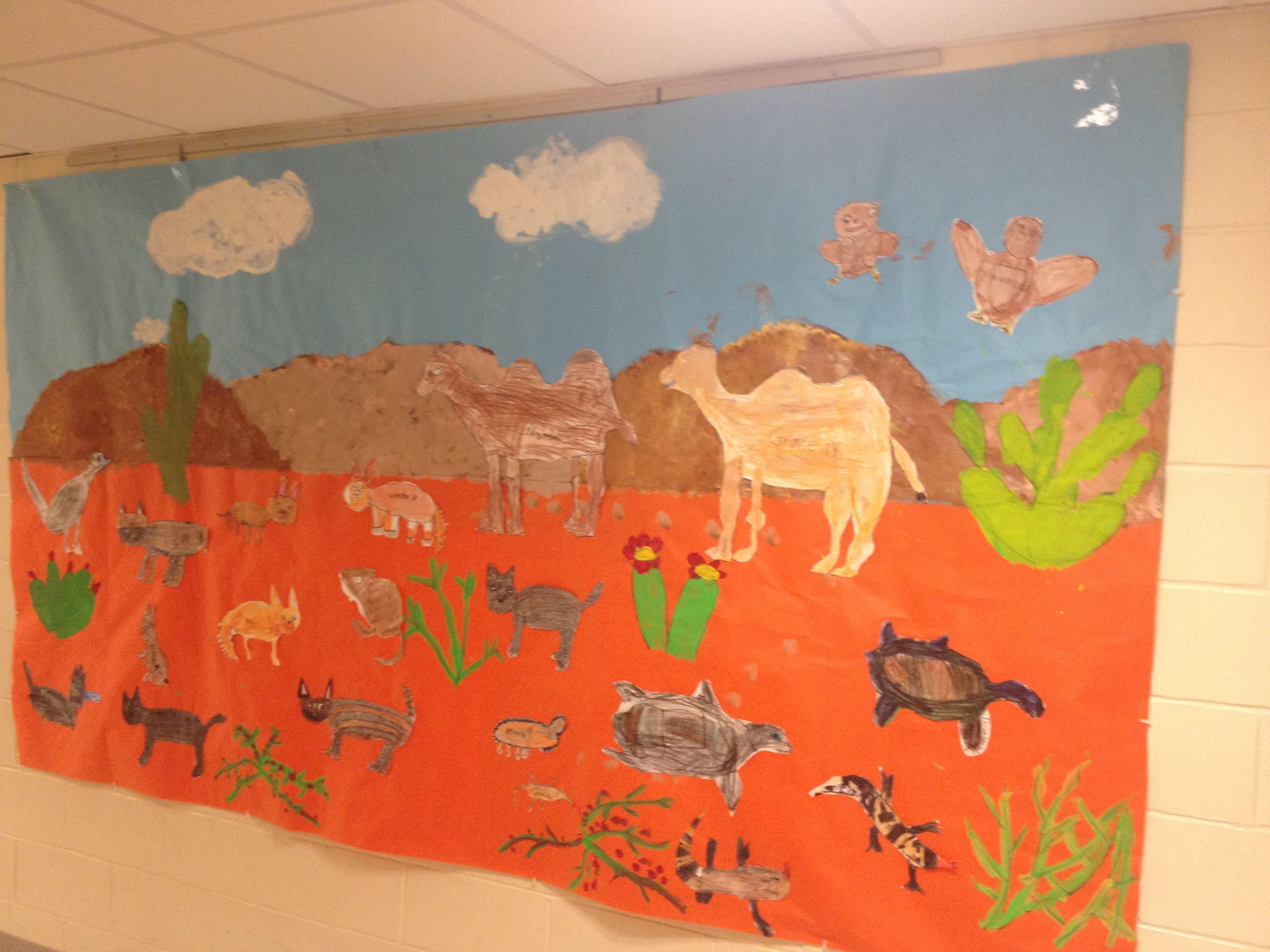 Desert Habitat Mural Animal mural, Desert animals