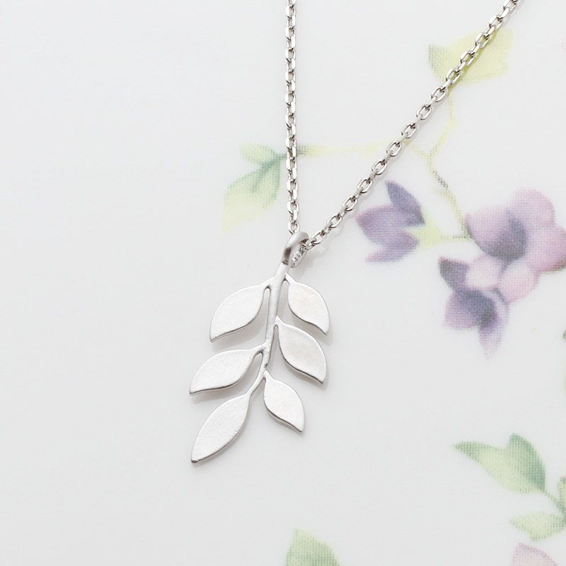 Sterling Silver Chain & Rhodium Plated Leaf Branch by SenseYou