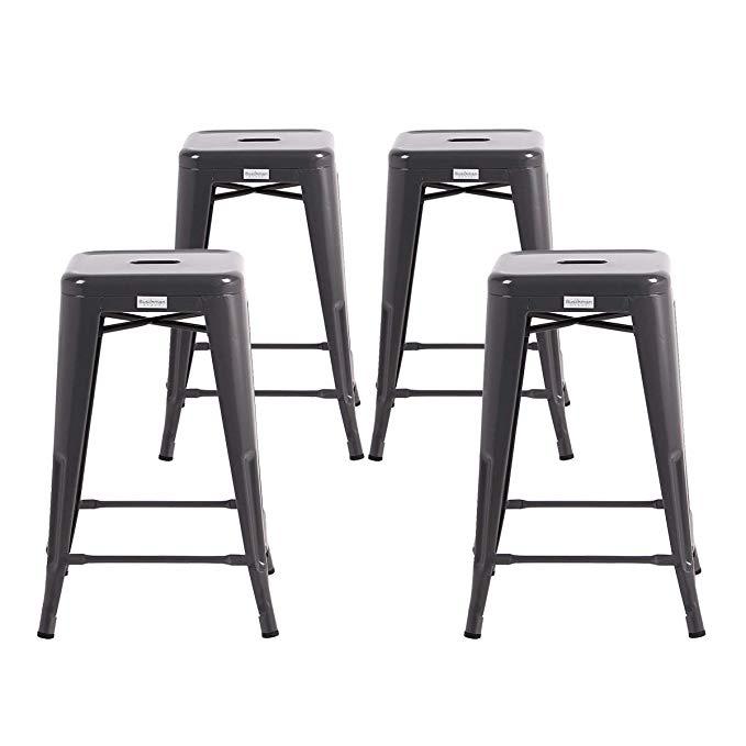 Amazon Com Buschman Metal Bar Stools 24 Counter Height Indoor Outdoor And Stackable Set Of 4 Bronze Kitchen Dining Bar Stools Metal Bar Stools Stool